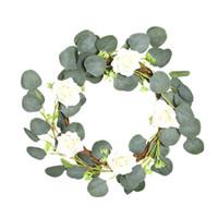 Wholesale seed vine for sale - Group buy 40cm Rose Eucalyptus Leaf Wreath Wreath with Seed Eucalyptus Vine Circle