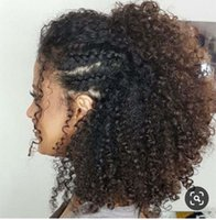 Wholesale weave hairstyles for natural hair resale online - Malaysian hair weave kinky curly ponytail hair extension clip in relaxed prom updo hairstyle for black women g