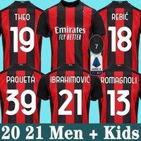 Wholesale ac milan soccer jerseys resale online - 20 AC Milan soccer jersey IBRAHIMOVIC PIATEK football shirt long sleeve PAQUETA BENNACER men kids REBIC camisa de futebol th
