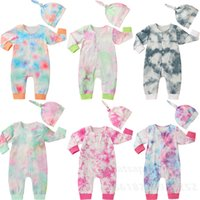 hat romper baby costumes 2021 - Baby Boy Girl Tie Dye Rompers Spring Fall Clothes Newborn Baby Boys Romper with Matching Hat Outfits Girl Jumpsuit Costume