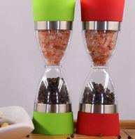 Wholesale Pepper Shaker Dual Salt Pepper Mill Hourglass Shape Spice Grinder Kitchen Tool Salt and Pepper Grinder Shaker Mill LJJK2378
