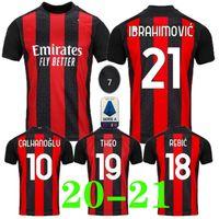 Wholesale ac milan soccer jerseys resale online - 20 AC Milan soccer jersey IBRAHIMOVIC PIATEK football shirt long sleeve PAQUETA BENNACER men kids REBIC camisa de futebol