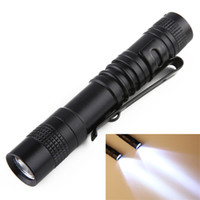 Wholesale strong lights resale online - LED Strong Light Flashlight Pens Shape Electric Torch Waterproof Flashlights Pen Lamp Clasp Clip Outdoor Portable py E2