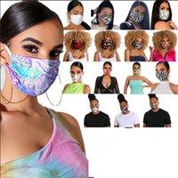 Wholesale Women Men Funny Face Mask Reusable Cartoon Print Festive Mask Ultraviolet proof Washable Running Riding Bike Party Masks LJJA1125