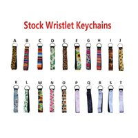Wholesale key ring lanyards resale online - Neoprene Wristband Keychains Floral Printed Key Chain Hand Wrist Lanyard Key Ring for women and girls Party Favor
