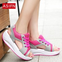 Wholesale sandal creepers resale online - Mesh Breathable Open Toe Women Sandals Summer Sneakers Casual Shoes Woman Ladies Platform Wedges Sandals Sandalias Creepers nZA5