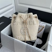Wholesale string beads white resale online - Barrel Bag New Pearl Beach bag This collection two colors black and rice white pearl decoration is more high end atmosphere beautiful