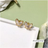 Wholesale fine jewelry charms for sale - Group buy Brand Solid Fine Yellow Butterfly Charm Earring Gold Girl Gift Pretty Luxury Designer Jewelry Women