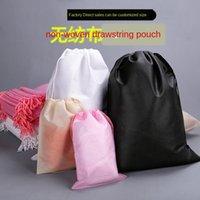 Wholesale plain drawstring shoe bags resale online - Plain drawstring pouch Packing non woven shoes clothing dust storage packing bag additive non woven bag