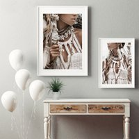 Wholesale native paintings for sale - Group buy Native Beauty Girl Poster Canvas Art Print Bohemian Native Women Photography Canvas Painting Wall Picture Art Home Decor