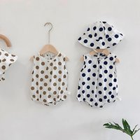 Wholesale baby polka dots hat for sale - Group buy baby clothing set polka dot baby girls clothes pure cotton infant boys bodysuit with hat