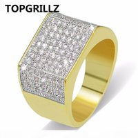 Wholesale women real white gold ring for sale - Group buy TOPGRILLZ Hip Hop Bling Rings All Iced Out Real Micro Pave CZ Cool Mens Women Couple Gold Silver Hiphop Ring