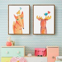 Wholesale deco posters resale online - Modern Cute Cartoon Red Animal Fox Poster Wall Art Canvas Painting Minimalist Print Nursery Picture For Baby Kids Room Home Deco
