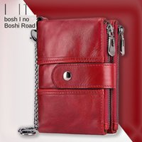 Wholesale phone gems for sale - Group buy Baoshi Road genuine Gem Case leather cute lady wallet RFID anti magnetic tassel genuine card cover coin purse multi card wallet
