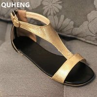 Wholesale sandals golden for sale - Group buy Women Sandals Summer Ladies Golden Glossy Spangled Flat Roman Shoes Outdoor Beach Open Toe Comfort Buckle Strap Female Sandals