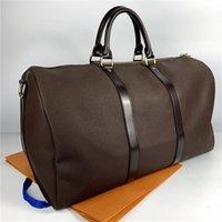 55cm Keepall luggage M41418 41414 Genuine Leather Handbags Fashion Women Travel Bags men duffel bag female large capacity sports purse