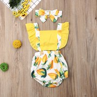 Wholesale baby clothes fruit resale online - Baby Girl Romper Newborn Baby Girl Lemon Fruit Romper Sleeveless Jumpsuit Clothes Summer Infant Baby Outfit Set M