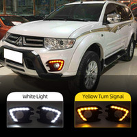 Wholesale pajero sports for sale - Group buy 2PCS LED DRL For Mitsubishi Pajero Sport Montero Sport Daytime Running Lights Fog Lamp Cover Car Styling