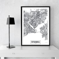Wholesale city painting black white for sale - Group buy Modern City Istanbul Map Minimalist Canvas Painting Black and White Wall Art Print Poster Pictures For Living Room Home Decor