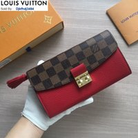 Wholesale red fringe purse resale online - RH1V M60207 Fringe Long Wallet Red WOMEN REAL LEATHER Long Wallets Chain Wallet Pouches Key Card Holders Phone Cases PURSE CLUTCHES