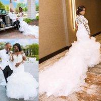 Wholesale off shoulder reception wedding dress resale online - Plus Size African Wedding Dresses with Long Sleeve Lace Applique Cascading Ruffles Sweep Train Beach Bride Reception Gown