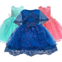 Wholesale flowers birthday month resale online - 2020 Baby Lace Flower Birthday Gown month Clothes Newborn Kids Girls Birthday Princess Infant Party Dresses Costume