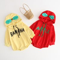 Wholesale apples fruit for sale - Group buy 1901 Autumn Winter Baby Girl Hoody Bodysuit ROMPER Newborn Outfits Fruit One Piece Thickening Sweatershirt Apple Orange