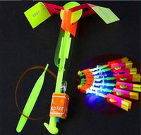 Wholesale light up shooting toy helicopter resale online - LED Flier Flyer LED Flying Amazing Arrow Helicopter Flying Umbrella Kids Toys Amazing Shot Light Up Parachute Gifts OOA2245