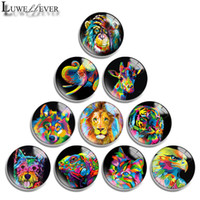 Wholesale black findings jewelry resale online - 10mm mm mm mm mm mm mm Black Animals Round Glass Cabochon Jewelry Finding Fit mm Snap Button Charm Bracelet Necklace