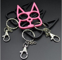 Wholesale girls toy keychain photos for sale - Group buy self defense New Cat keychain Ring Buckle Sefl Defense Weapon Toy Model Outdoor Ring Four finger Tool Christmas gift Key Rings