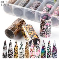 Wholesale box borders resale online - Cross Border Nail Art Set Stickers Boxed Fashion Colorful Leopard Style Female Fashion Starry Stickers Nail