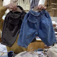 Wholesale waist leg bags resale online - JK Korean Style Newest Fall Kids Girls Jeans Denim Trousers Pocket Bag Fashions Designs Pockets Elastic Waist Autumn Children Unisex Pants