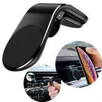 Wholesale phone holder stand clip online – L Type Magnetic Car Phone Holder Air Vent Clip Mobile Phone Stand Mount for iPhone Samsung Huawei GPS Universal with retail package MQ50
