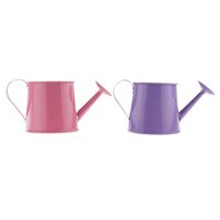 Wholesale tin watering cans resale online - 2x Pastoral Style Colorful Tin Flower Pot Mini Bonsai Watering Can Pot