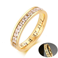 Wholesale white gold wedding rings for her resale online - Bling CZ Stone Wedding Rings for Women Gold Tone Stainless Steel Roman Numerals Promise Love Gifts for Her Jewelry