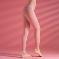 Wholesale yoga leggings for sale - Group buy Solid color High Waist Yoga Pants Sport Out Pocket Skinny Tummy Control Leggings Running Pants women clothes Fitness Tights Run