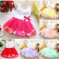 Babies Princess Girls Flower Dress 3D Rose Flower Baby Girl Tutu Dress with Colorful Petal Lace Dress Bubble Skirt Baby Clothes M2333