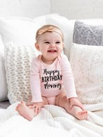 Wholesale sales baby clothes resale online - Happy Birthday Mommy Infant Newborn Baby Girls Hot Sale Fashion Style Long Sleeve Romper COTTON Jumpsuit Clothes Outfits