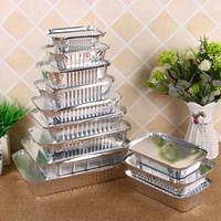 Wholesale tin foil resale online - Disposable Tin Foil Lunch Box Takeaway Food Vegetables Container Rectangle Barbecue Drip Pan Tray with Cover ml Silver A09