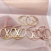 çember küpeler toptan satış-Big Size Hot Sale Top Quality Fashion Design Ear Studs Hip Hop Titanium Steel Earrings Gold Silver Rose Hoop For Women Jewelry Wholesale
