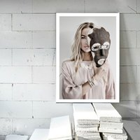 Wholesale modern photography prints resale online - Posters And Prints Nordic Photography Art Canvas Painting Girl Self Portrait Face Off Modern Wall Pictures For Living Room Decor
