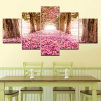 Wholesale cherry blossom wall art painting resale online - Modular Canvas Wall Art Pictures HD Prints Pieces Cherry Blossoms Forest Path Painting Home Decor Flowers Trees Nature Poster