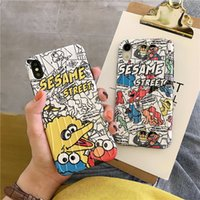 Wholesale comic case for iphone for sale – best Suitcase trunk Cartoon Sesame Street Cookie Elmo Case For iphone X XR XS XS Max s plus Comic Graffiti Soft Silicone Cover