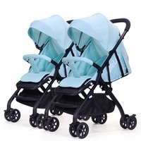Wholesale newborn twin babies for sale - Group buy Twin Baby Stroller Detachable Light Can Sit Reclining Folding Absorbers Second Baby Double Stroller Bb Car Newborn Twins