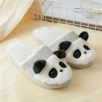 chinelos de chinelo indoor venda por atacado-Furry Chinelos especiais Indoor Panda macia Sapatos estilo chinês bonito inverno quente dos desenhos animados menina antiderrapante Memory Foam Cotton House Shoe