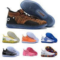 Wholesale low kd shoes for men resale online - Kevin EP Zoom KD11 Durant XI Royal Mammary Cancer White Orange Brown Sports Basketball Shoes For Mens KD S Sneakers Size