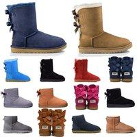 Wholesale red button mix resale online - fashion designer boots Australia women girl classic snow boots bowtie ankle short bow fur winter boot for womens shoes Chestnut A