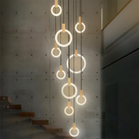 Contemporary Wood LED Chandelier Lamp Acrylic Rings Droplighs Stair Light 3 5 6 7 10 Heads Indoor Lighting Fixture