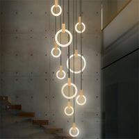 Contemporary Wood LED Chandelier Lighting Acrylic Rings Led Droplighs Stair Lighting 3 5 6 7 10 Rings Indoor Lighting Fixture