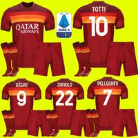 Wholesale Adult kids kit ROMA home soccer jersey AS PASTORE DZEKO ZANIOLO EL SHAARAWY ROME FOOTBALL SHIRTs